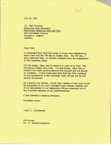 Thumbnail of Letter from Mark H. McCormack to Stan Houston