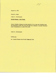 Thumbnail of Memorandum from Mark H. McCormack to David A. Rees