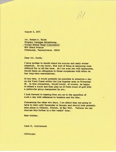 Thumbnail of Letter from Mark H. McCormack to Robert A. Smith