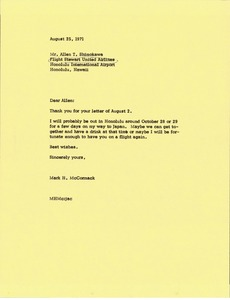 Thumbnail of Letter from Mark H. McCormack to Allen T. Shimokawa