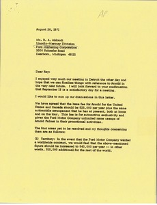 Thumbnail of Letter from Mark H. McCormack to R. A. Ablondi