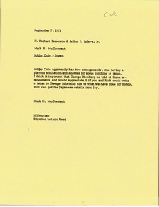 Thumbnail of Memorandum from Mark H. McCormack to H. Richard Isaacson and Arthur J. Lafave