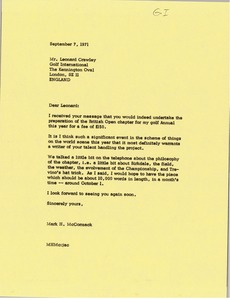 Thumbnail of Letter from Mark H. McCormack to Leonard Crawley