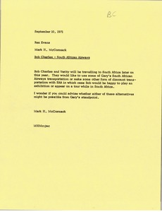 Thumbnail of Memorandum from Mark H. McCormack to Rex B. Evans