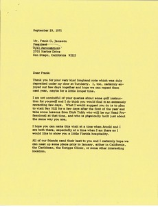 Thumbnail of Letter from Mark H. McCormack to Frank G. Jameson