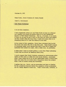 Thumbnail of Memorandum from Mark H. McCormack to Peter Smith, David Morrison and Martin Sorrell