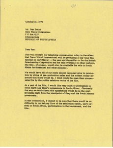 Thumbnail of Letter from Mark H. McCormack to Rex B. Evans