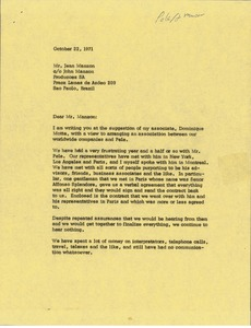 Thumbnail of Letter from Mark H. McCormack to Jean Manzon