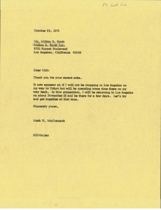 Thumbnail of Letter from Mark H. McCormack to Milton Berry Scott