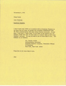 Thumbnail of Memorandum from Judy A. Chilcote to Peter Smith