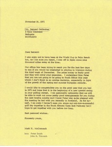 Thumbnail of Letter from Mark H. McCormack to Bernard Gallacher