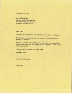 Thumbnail of Letter from Mark H. McCormack to Lee Gottlieb