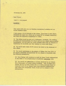Thumbnail of Memorandum from Mark H. McCormack to Jack Urlwin