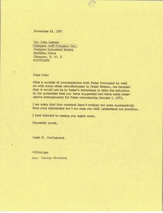 Thumbnail of Letter from Mark H. McCormack to John Letters