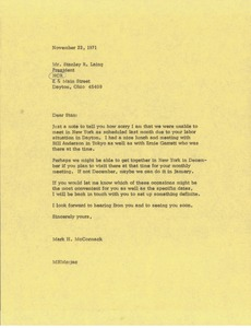 Thumbnail of Letter from Mark H. McCormack to Stanley R. Laing