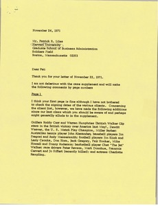 Thumbnail of Letter from Mark H. McCormack to Patrick R. Liles