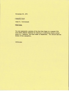 Thumbnail of Memorandum from Mark H. McCormack to Malcolm Bund
