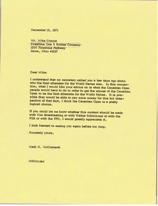 Thumbnail of Letter from Mark H. McCormack to Mike Connor