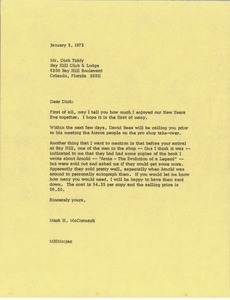 Thumbnail of Letter from Mark H. McCormack to Dick Tiddy