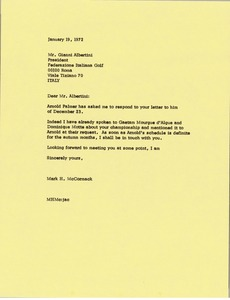 Thumbnail of Letter from Mark H. McCormack to Gianna Albertini