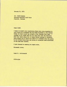 Thumbnail of Letter from Mark H. McCormack to Cliff Roberts