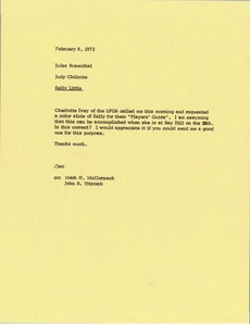Thumbnail of Memorandum from Judy Chilcote to Jules Rosenthal