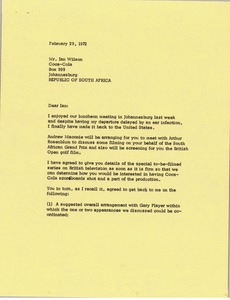 Thumbnail of Letter from Mark H. McCormack to Ian Wilson