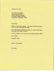 Thumbnail of Letter from Mark H. McCormack to Frank Gard Jameson