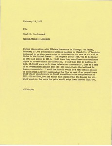 Thumbnail of Memorandum from Mark H. McCormack to Arnold Palmer Allstate file