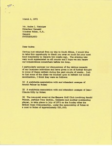 Thumbnail of Letter from Mark H. McCormack to Andre J. Heiniger
