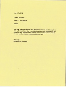 Thumbnail of Memorandum from Mark H. McCormack to George Blumberg