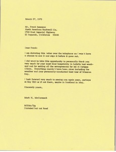 Thumbnail of Letter from Mark H. McCormack to Frank Gard Jamison