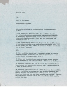 Thumbnail of Memorandum from Mark H. McCormack concerning Arnold Palmer nad Allstate