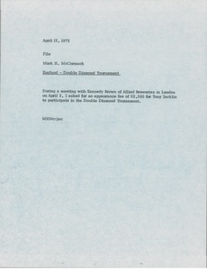 Thumbnail of Memorandum from Mark H. McCormack concerning a Tony Jacklin appearance