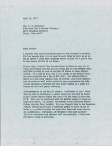 Thumbnail of Letter from Mark H. McCormack to A. E. Brubaker