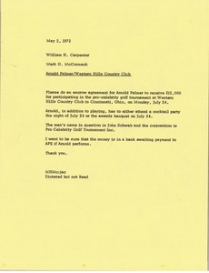 Thumbnail of Memorandum from Mark H. McCormack to William H. Carpenter