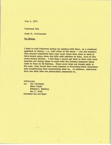 Thumbnail of Memorandum from Mark H. McCormack to Firestone file