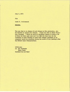 Thumbnail of Memorandum from Mark H. McCormack to Allstate file