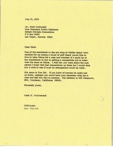 Thumbnail of Letter from Mark H. McCormack to Herb McDonald