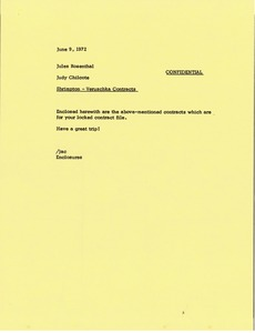 Thumbnail of Memorandum from Judy A. Chilcote to Jules Rosenthal