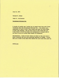 Thumbnail of Memorandum from Mark H. McCormack to Richard R. Alford