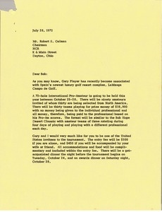 Thumbnail of Letter from Mark H. McCormack to Robert S. Oelman
