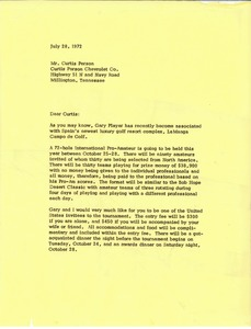 Thumbnail of Letter from Mark H. McCormack to Curtis Person