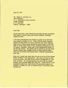 Thumbnail of Letter from Mark H. McCormack to Robert B. McCurry Jr.
