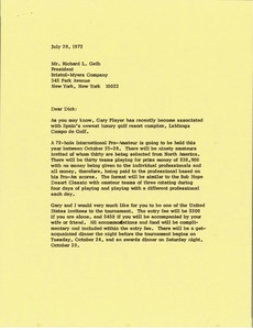 Thumbnail of Letter from Mark H. McCormack to Richard L. Gelb