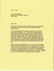 Thumbnail of Letter from Mark H. McCormack to Larry Truesdale