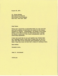 Thumbnail of Letter from Mark H. McCormack to Roone Arledge
