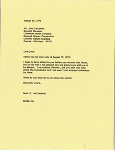 Thumbnail of Letter from Mark H. McCormack to John DeLorean