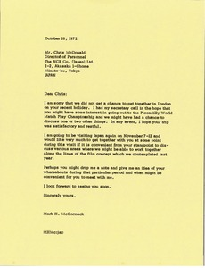Thumbnail of Letter from Mark H. McCormack to Chris McDonald