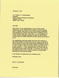 Thumbnail of Letter from Mark H. McCormack to William W. Boeschenstein